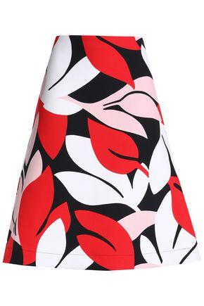 MARNI Flared printed cotton-blend skirt