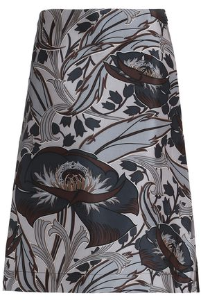 MARNI Flared printed cotton and silk-blend skirt