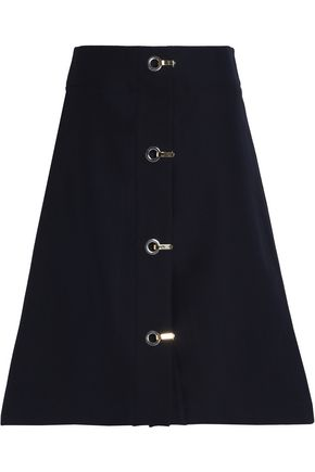 MARNI Eyelet-detailed cotton-felt skirt
