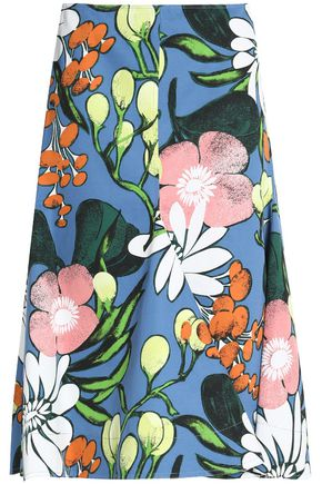 MARNI Floral-print cotton and linen-blend twill midi skirt