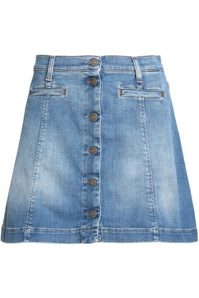 7 FOR ALL MANKIND Faded denim mini skirt