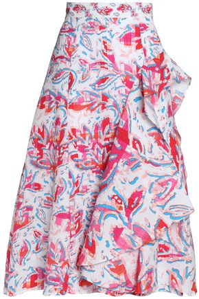 ANCIENT GREEK SANDALS x PETER PILOTTO Ruffled printed cloqué skirt