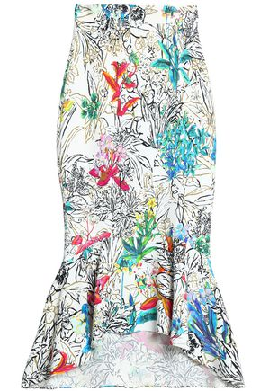 ANCIENT GREEK SANDALS x PETER PILOTTO Fluted printed crepe midi skirt