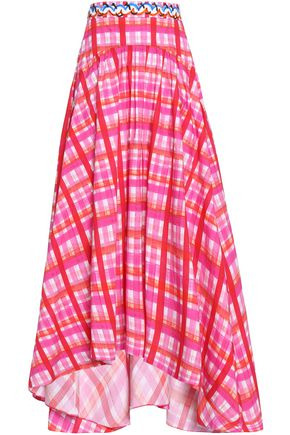 PETER PILOTTO Flared checked cotton-blend poplin midi skirt