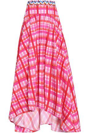 PETER PILOTTO Ruffled gingham cotton-blend poplin midi skirt
