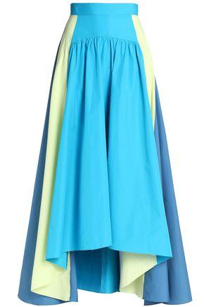 PETER PILOTTO Pleated color-block cotton-pplin midi skirt