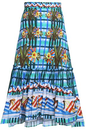 PETER PILOTTO Ruffled printed cotton-poplin midi skirt