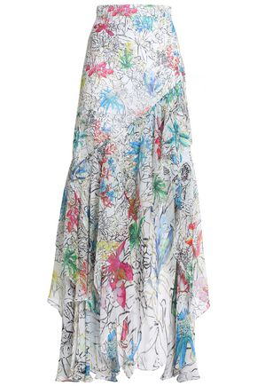 PETER PILOTTO Ruffled printed silk-georgette maxi skirt