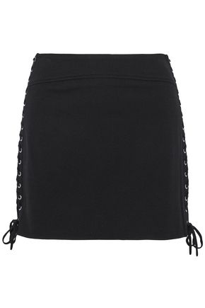 McQ Alexander McQueen Lace-up stretch-knit mini skirt