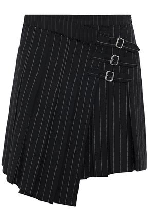 McQ Alexander McQueen Wrap-effect pleated pinstriped woven mini skirt