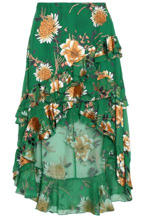 ALICE+OLIVIA Ruffle-trimmed floral-print crepe de chine skirt