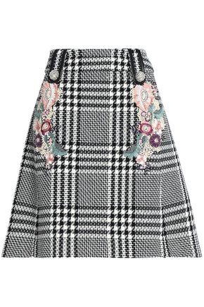 ZUHAIR MURAD Embellished houndstooth wool-blend skirt