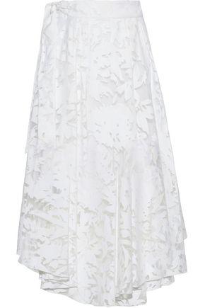 MILLY Asymmetric fil coupé cotton-blend midi skirt