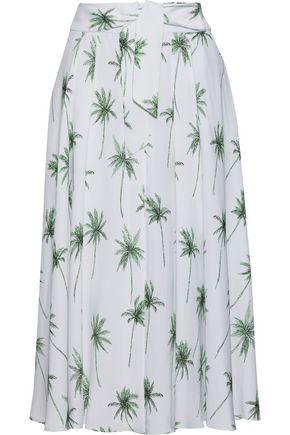 MILLY Printed cady midi skirt