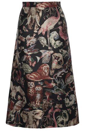 VALENTINO Silk-blend jacquard midi skirt