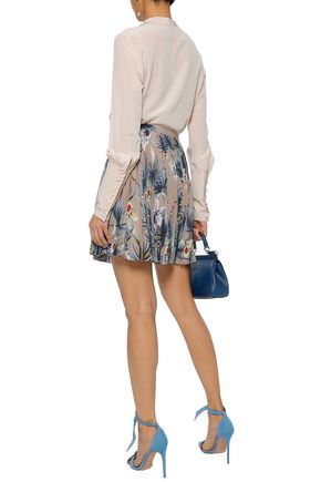 VALENTINO Pleated printed silk crepe de chine mini skirt