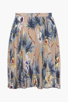 VALENTINO Pleated floral-print silk crepe de chine mini skirt