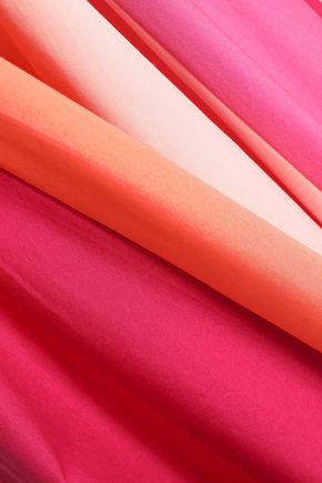 PETER PILOTTO Pleated color-block cotton-poplin midi skirt
