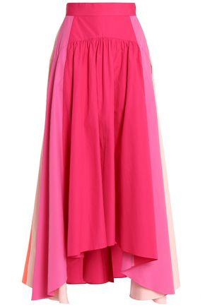 ANCIENT GREEK SANDALS x PETER PILOTTO Pleated color-block cotton-poplin midi skirt