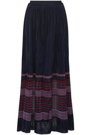 OSCAR DE LA RENTA Pleated crochet-knit maxi skirt