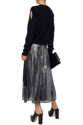 McQ Alexander McQueen Lace-trimmed metallic printed silk-blend maxi skirt
