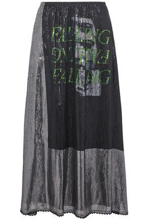 McQ Alexander McQueen Lace-trimmed metallic printed silk-blend midi skirt