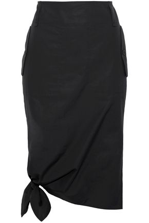 MAX MARA Carbone knotted cotton-poplin skirt