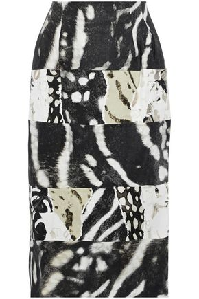 MAX MARA Paneled printed linen and cotton-blend twill skirt
