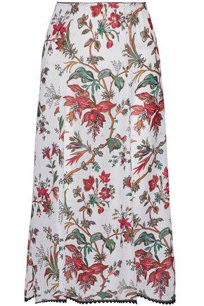 McQ Alexander McQueen Floral-print crepe de chine midi skirt