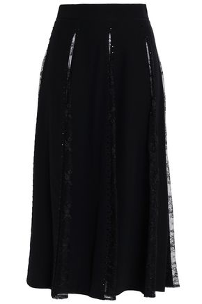 ZUHAIR MURAD Sequin-embellished silk-blend crepe and Chantilly lace skirt