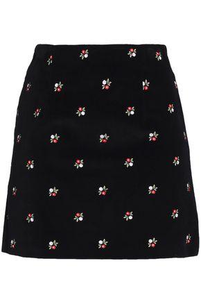 ALEXA CHUNG Embroidered velvet mini skirt