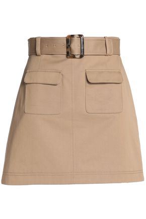 ALEXA CHUNG Belted cotton-gabardine mini skirt