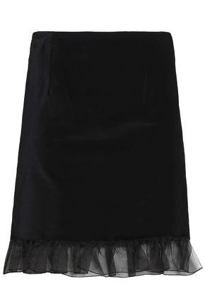 ALEXACHUNG Ruffled organza-trimmed cotton-velvet mini skirt