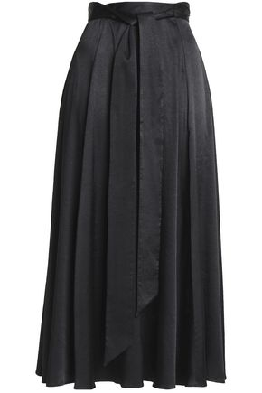 ALEXACHUNG Belted pleated satin midi skirt