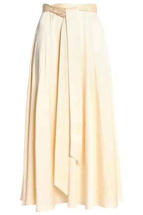 ALEXA CHUNG Belted pleated satin midi skirt