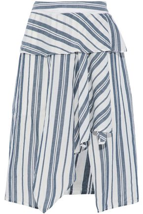 W118 by WALTER BAKER Gabrielle asymmetric striped cotton-gauze skirt