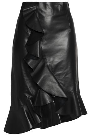 LANVIN Asymmetric ruffled glossed-leather skirt