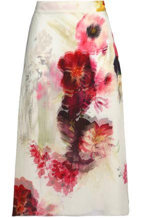 LANVIN Floral-print silk-chiffon midi skirt