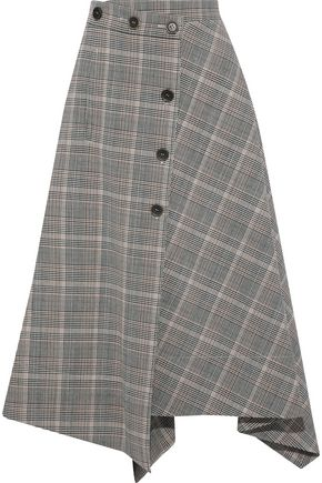 SONIA RYKIEL Asymmetric houndstooth wool-blend midi skirt