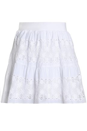 MIGUELINA Guipure lace-paneled cotton mini skirt