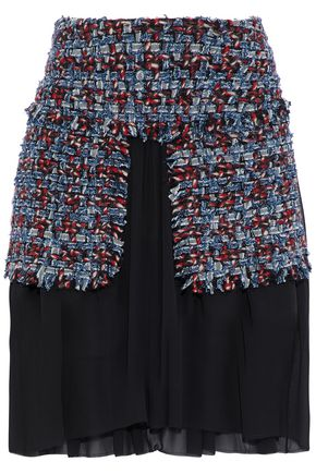 SONIA RYKIEL Layered cotton-blend tweed and silk-chiffon skirt