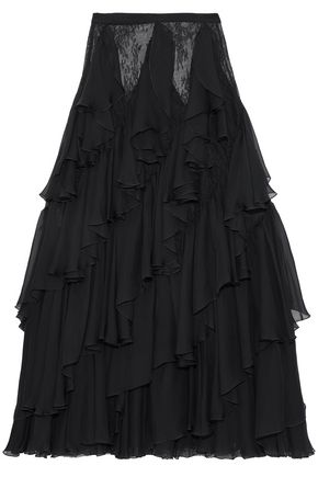 ZUHAIR MURAD Ruffled silk-blend chiffon and Chantilly lace maxi skirt