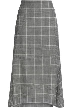 CEFINN Checked wool-blend gauze midi skirt