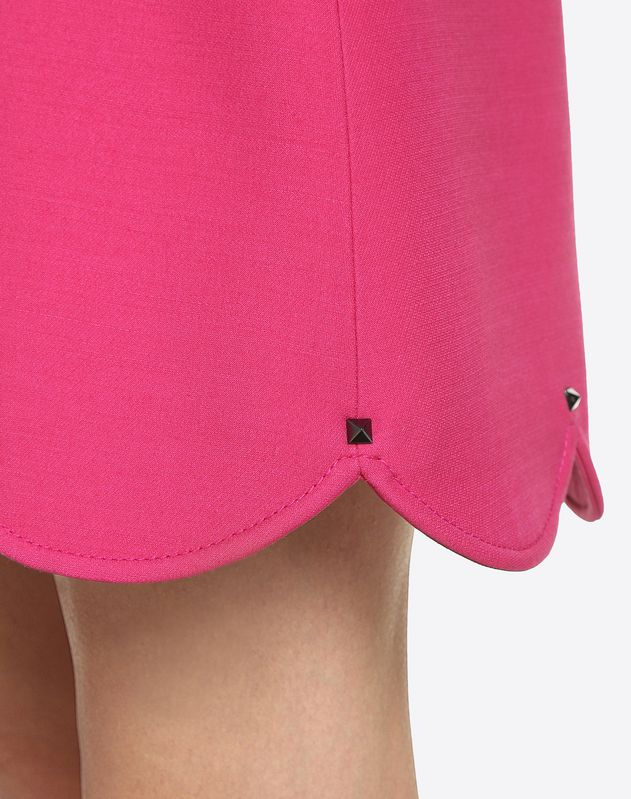 Crepe Couture Mini Skirt with Scalloped Hem