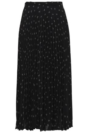 VINCE. Pleated floral-print crepe midi skirt