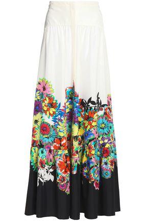 ROBERTO CAVALLI Floral-print silk maxi skirt