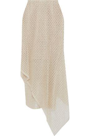 ROLAND MOURET Harmer asymmetric open-knit wrap midi skirt