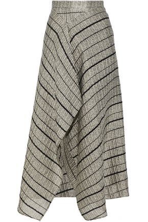 ROLAND MOURET Asymmetric metallic cloqué midi skirt