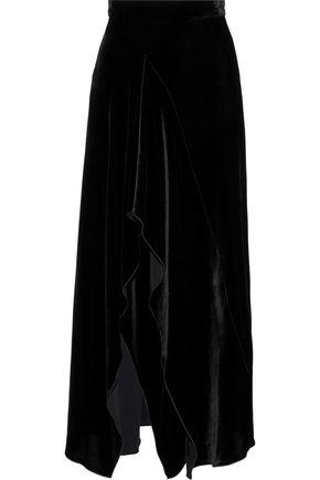 ROLAND MOURET Haxby velvet midi skirt
