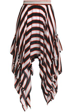 PREEN LINE Rachel asymmetric striped crepe de chine skirt